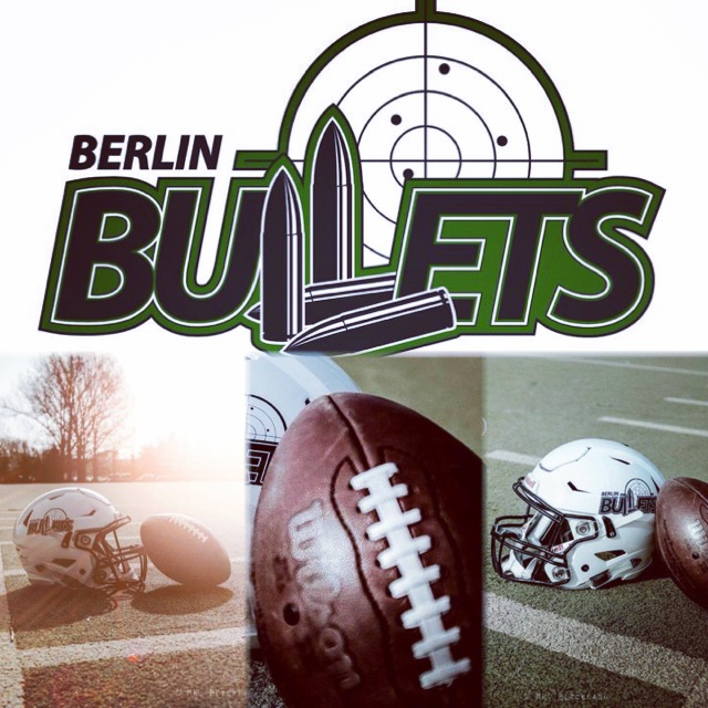 Collage aus Bulletslogo, Helm und Football