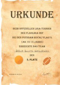zeigt die Urkunde vom 3. Platz im Turnier Potsdam 2016