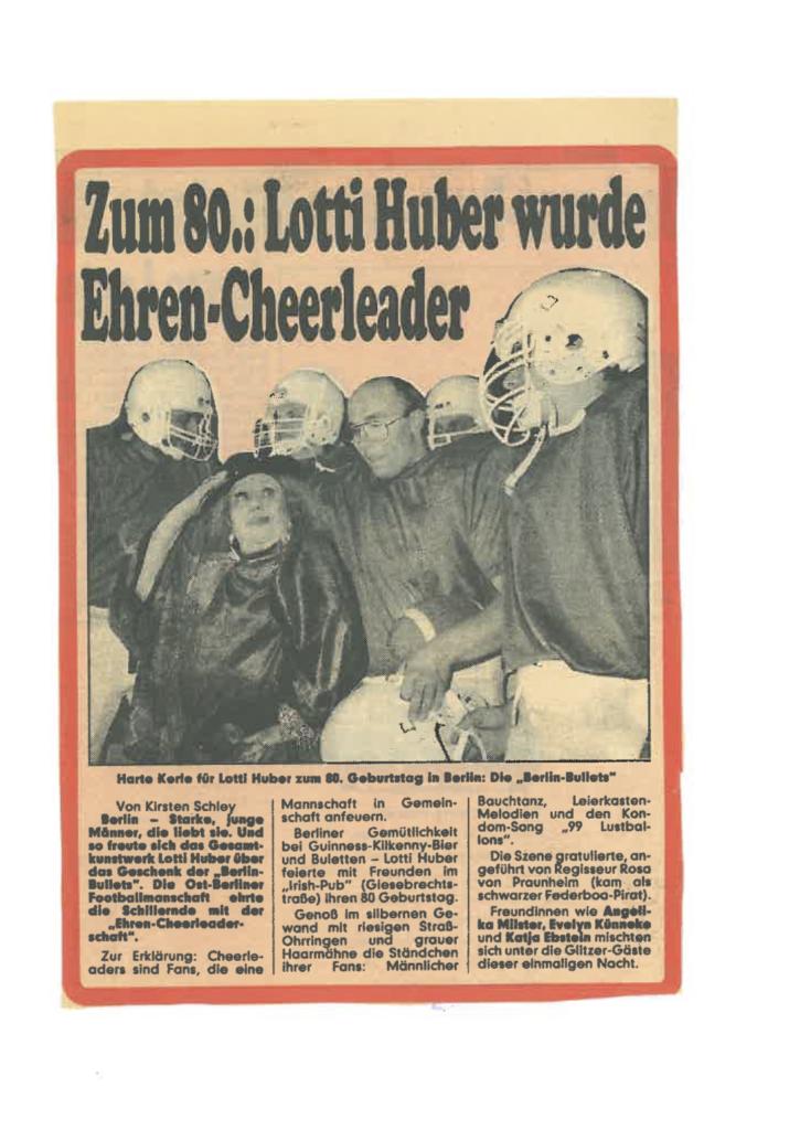 Zeitungsartikel Lotti Huber 80 Geburtstag mit den Bullets