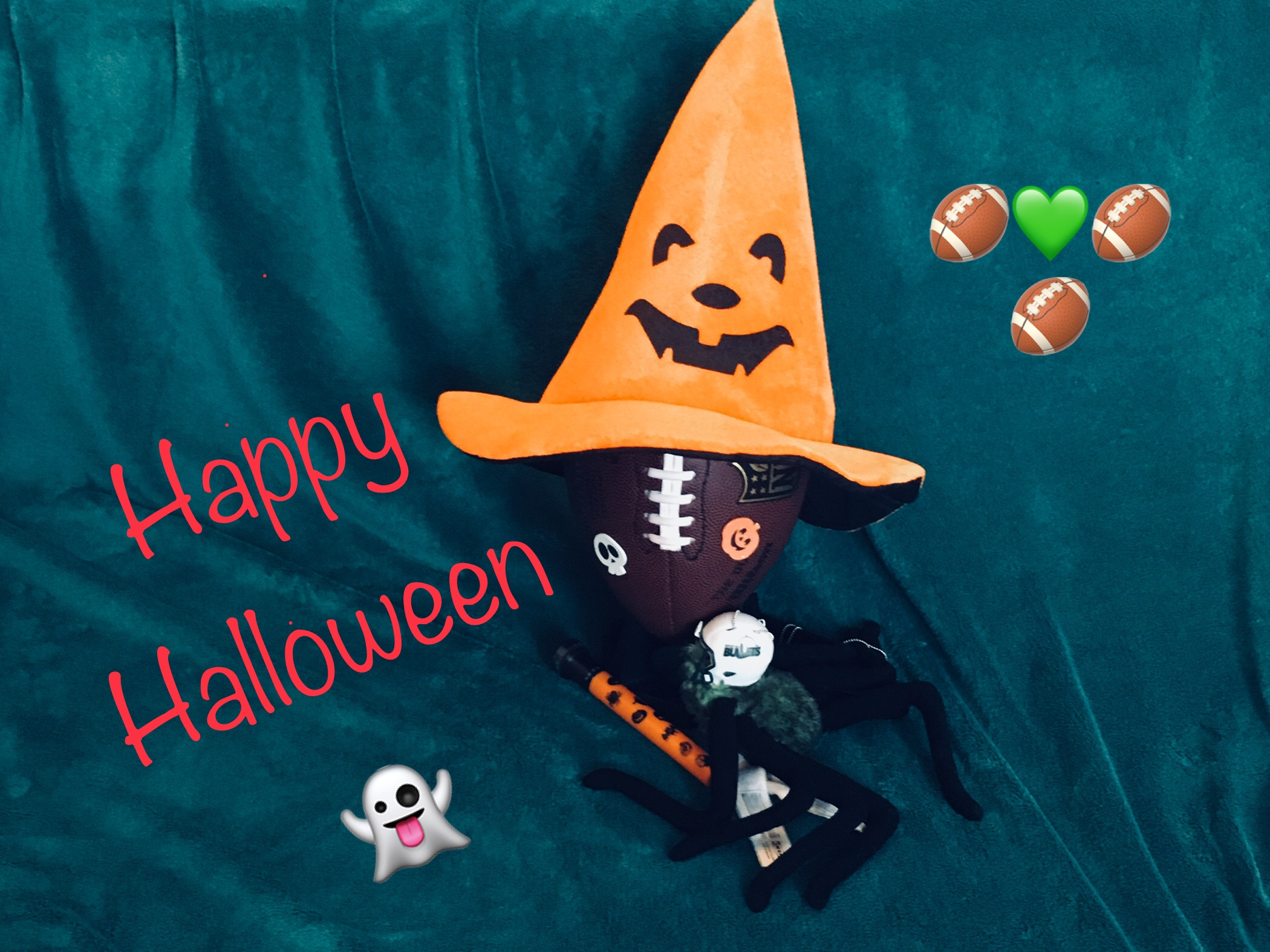 Happy halloween 2017 Spider mit Helm und Football mit Hut