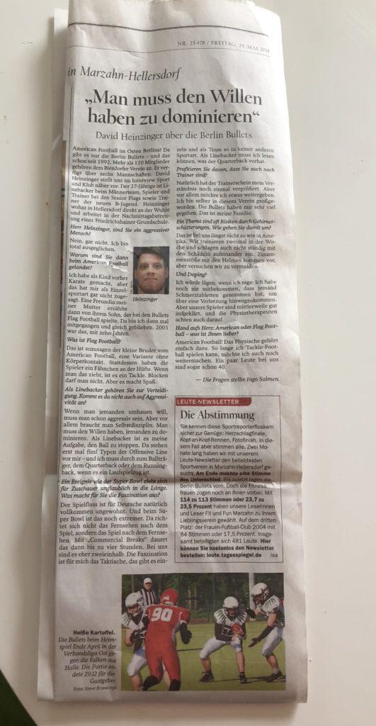 Zeitungsartikel Tagesspiegel vom 25.05.2018
